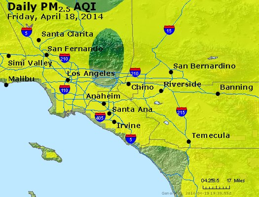 Peak Particles PM<sub>2.5</sub> (24-hour) - http://files.airnowtech.org/airnow/2014/20140418/peak_pm25_losangeles_ca.jpg