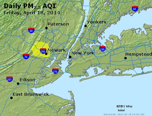 Peak Particles PM<sub>2.5</sub> (24-hour) - http://files.airnowtech.org/airnow/2014/20140418/peak_pm25_newyork_ny.jpg