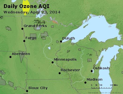 Peak Ozone (8-hour) - http://files.airnowtech.org/airnow/2014/20140423/peak_o3_mn_wi.jpg