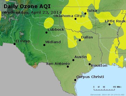 Peak Ozone (8-hour) - http://files.airnowtech.org/airnow/2014/20140423/peak_o3_tx_ok.jpg