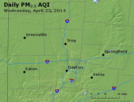 Peak Particles PM<sub>2.5</sub> (24-hour) - http://files.airnowtech.org/airnow/2014/20140423/peak_pm25_dayton_oh.jpg
