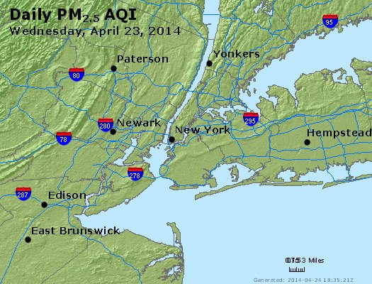 Peak Particles PM<sub>2.5</sub> (24-hour) - http://files.airnowtech.org/airnow/2014/20140423/peak_pm25_newyork_ny.jpg