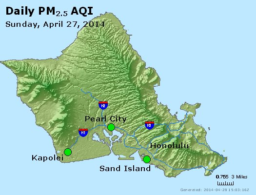 Peak Particles PM<sub>2.5</sub> (24-hour) - http://files.airnowtech.org/airnow/2014/20140427/peak_pm25_honolulu_hi.jpg