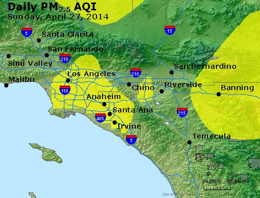 Peak Particles PM<sub>2.5</sub> (24-hour) - http://files.airnowtech.org/airnow/2014/20140427/peak_pm25_losangeles_ca.jpg