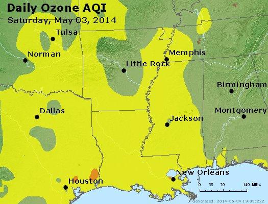 Peak Ozone (8-hour) - http://files.airnowtech.org/airnow/2014/20140503/peak_o3_ar_la_ms.jpg