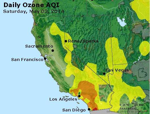 Peak Ozone (8-hour) - http://files.airnowtech.org/airnow/2014/20140503/peak_o3_ca_nv.jpg