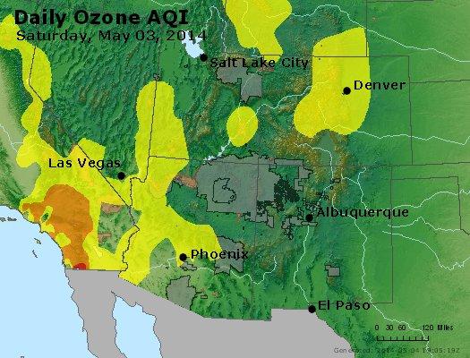 Peak Ozone (8-hour) - http://files.airnowtech.org/airnow/2014/20140503/peak_o3_co_ut_az_nm.jpg