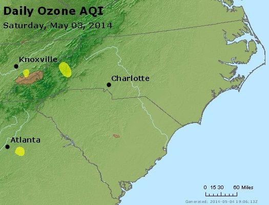 Peak Ozone (8-hour) - http://files.airnowtech.org/airnow/2014/20140503/peak_o3_nc_sc.jpg