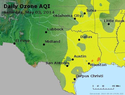 Peak Ozone (8-hour) - http://files.airnowtech.org/airnow/2014/20140503/peak_o3_tx_ok.jpg