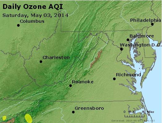 Peak Ozone (8-hour) - http://files.airnowtech.org/airnow/2014/20140503/peak_o3_va_wv_md_de_dc.jpg