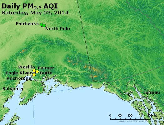 Peak Particles PM<sub>2.5</sub> (24-hour) - http://files.airnowtech.org/airnow/2014/20140503/peak_pm25_alaska.jpg