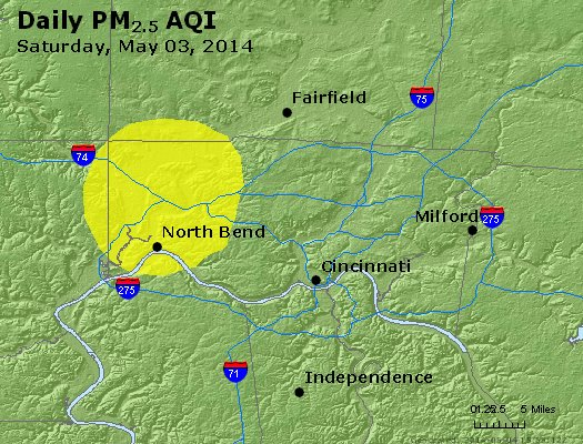 Peak Particles PM<sub>2.5</sub> (24-hour) - http://files.airnowtech.org/airnow/2014/20140503/peak_pm25_cincinnati_oh.jpg