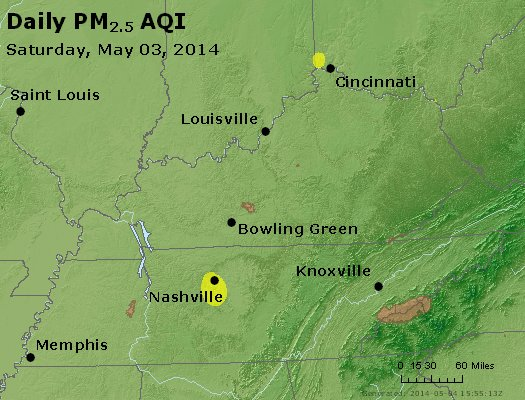 Peak Particles PM<sub>2.5</sub> (24-hour) - http://files.airnowtech.org/airnow/2014/20140503/peak_pm25_ky_tn.jpg