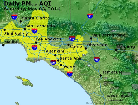 Peak Particles PM<sub>2.5</sub> (24-hour) - http://files.airnowtech.org/airnow/2014/20140503/peak_pm25_losangeles_ca.jpg