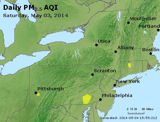Peak Particles PM<sub>2.5</sub> (24-hour) - http://files.airnowtech.org/airnow/2014/20140503/peak_pm25_ny_pa_nj.jpg