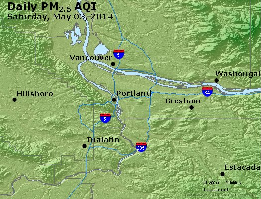 Peak Particles PM<sub>2.5</sub> (24-hour) - http://files.airnowtech.org/airnow/2014/20140503/peak_pm25_portland_or.jpg
