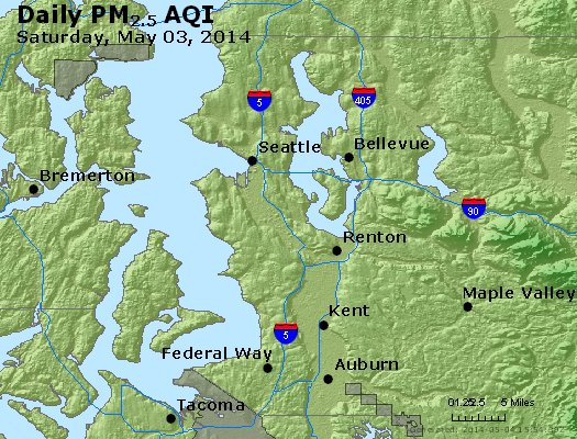 Peak Particles PM<sub>2.5</sub> (24-hour) - http://files.airnowtech.org/airnow/2014/20140503/peak_pm25_seattle_wa.jpg