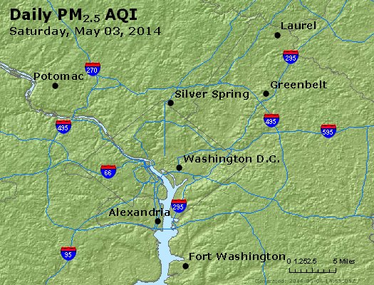 Peak Particles PM<sub>2.5</sub> (24-hour) - http://files.airnowtech.org/airnow/2014/20140503/peak_pm25_washington_dc.jpg