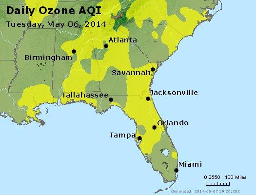 Peak Ozone (8-hour) - http://files.airnowtech.org/airnow/2014/20140506/peak_o3_al_ga_fl.jpg