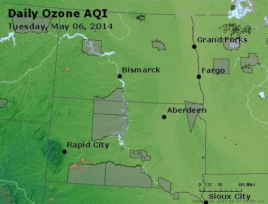 Peak Ozone (8-hour) - http://files.airnowtech.org/airnow/2014/20140506/peak_o3_nd_sd.jpg
