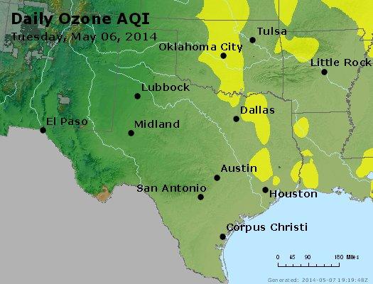 Peak Ozone (8-hour) - http://files.airnowtech.org/airnow/2014/20140506/peak_o3_tx_ok.jpg