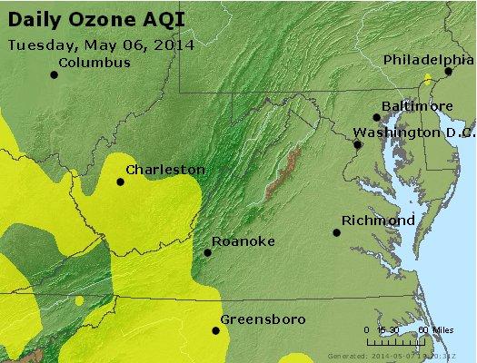 Peak Ozone (8-hour) - http://files.airnowtech.org/airnow/2014/20140506/peak_o3_va_wv_md_de_dc.jpg