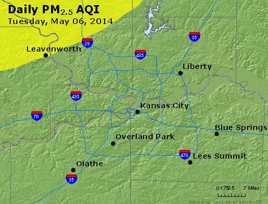 Peak Particles PM<sub>2.5</sub> (24-hour) - http://files.airnowtech.org/airnow/2014/20140506/peak_pm25_kansascity_mo.jpg