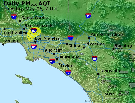 Peak Particles PM<sub>2.5</sub> (24-hour) - http://files.airnowtech.org/airnow/2014/20140506/peak_pm25_losangeles_ca.jpg