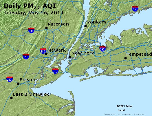 Peak Particles PM<sub>2.5</sub> (24-hour) - http://files.airnowtech.org/airnow/2014/20140506/peak_pm25_newyork_ny.jpg