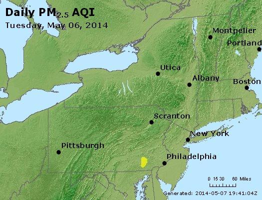 Peak Particles PM<sub>2.5</sub> (24-hour) - http://files.airnowtech.org/airnow/2014/20140506/peak_pm25_ny_pa_nj.jpg