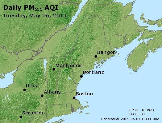 Peak Particles PM<sub>2.5</sub> (24-hour) - http://files.airnowtech.org/airnow/2014/20140506/peak_pm25_vt_nh_ma_ct_ri_me.jpg