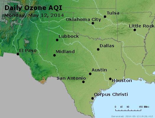 Peak Ozone (8-hour) - http://files.airnowtech.org/airnow/2014/20140512/peak_o3_tx_ok.jpg