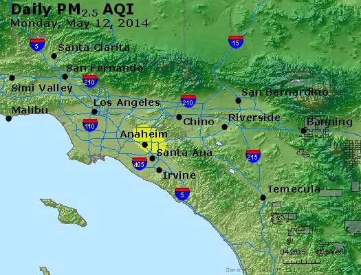 Peak Particles PM<sub>2.5</sub> (24-hour) - http://files.airnowtech.org/airnow/2014/20140512/peak_pm25_losangeles_ca.jpg