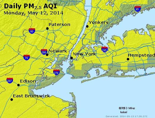 Peak Particles PM<sub>2.5</sub> (24-hour) - http://files.airnowtech.org/airnow/2014/20140512/peak_pm25_newyork_ny.jpg