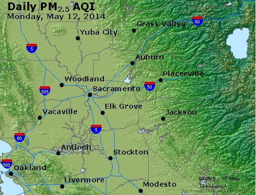 Peak Particles PM<sub>2.5</sub> (24-hour) - http://files.airnowtech.org/airnow/2014/20140512/peak_pm25_sacramento_ca.jpg