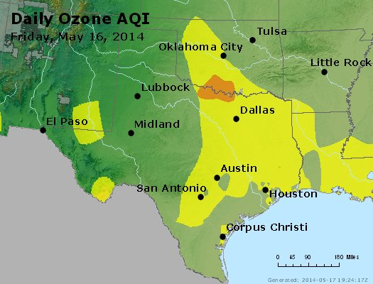 Peak Ozone (8-hour) - http://files.airnowtech.org/airnow/2014/20140516/peak_o3_tx_ok.jpg