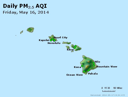 Peak Particles PM<sub>2.5</sub> (24-hour) - http://files.airnowtech.org/airnow/2014/20140516/peak_pm25_hawaii.jpg
