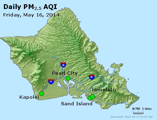 Peak Particles PM<sub>2.5</sub> (24-hour) - http://files.airnowtech.org/airnow/2014/20140516/peak_pm25_honolulu_hi.jpg