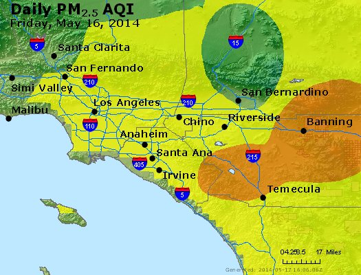Peak Particles PM<sub>2.5</sub> (24-hour) - http://files.airnowtech.org/airnow/2014/20140516/peak_pm25_losangeles_ca.jpg