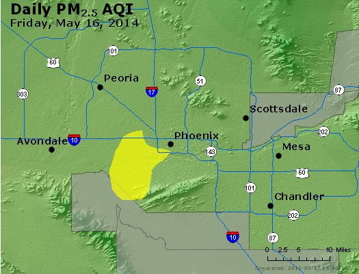 Peak Particles PM<sub>2.5</sub> (24-hour) - http://files.airnowtech.org/airnow/2014/20140516/peak_pm25_phoenix_az.jpg