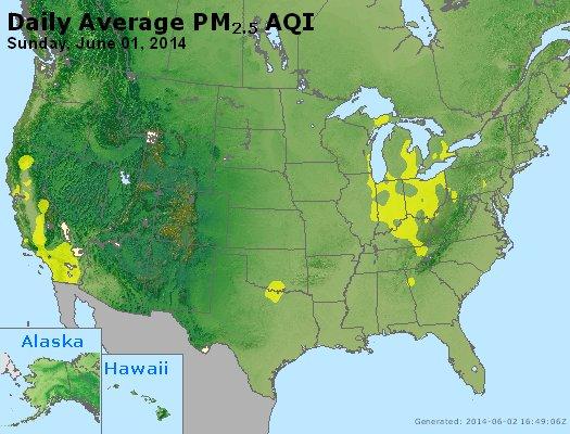 Peak Particles PM<sub>2.5</sub> (24-hour) - http://files.airnowtech.org/airnow/2014/20140601/peak_pm25_usa.jpg
