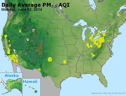 Peak Particles PM<sub>2.5</sub> (24-hour) - http://files.airnowtech.org/airnow/2014/20140602/peak_pm25_usa.jpg