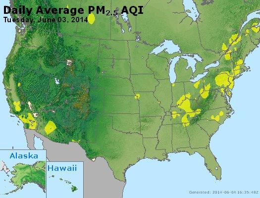 Peak Particles PM<sub>2.5</sub> (24-hour) - http://files.airnowtech.org/airnow/2014/20140603/peak_pm25_usa.jpg