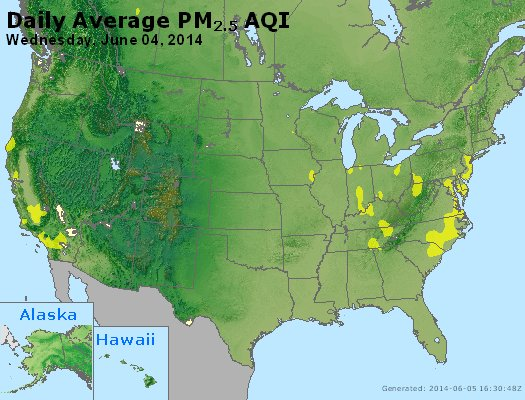 Peak Particles PM<sub>2.5</sub> (24-hour) - http://files.airnowtech.org/airnow/2014/20140604/peak_pm25_usa.jpg