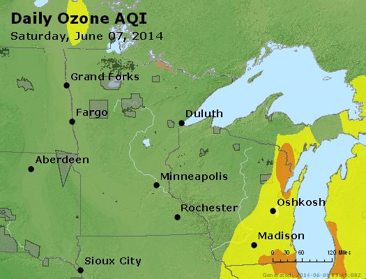 Peak Ozone (8-hour) - http://files.airnowtech.org/airnow/2014/20140607/peak_o3_mn_wi.jpg