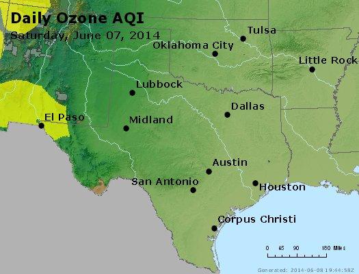Peak Ozone (8-hour) - http://files.airnowtech.org/airnow/2014/20140607/peak_o3_tx_ok.jpg