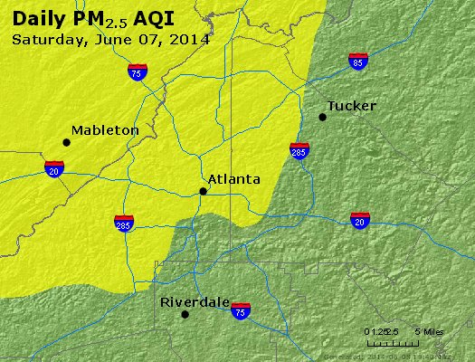 Peak Particles PM<sub>2.5</sub> (24-hour) - http://files.airnowtech.org/airnow/2014/20140607/peak_pm25_atlanta_ga.jpg