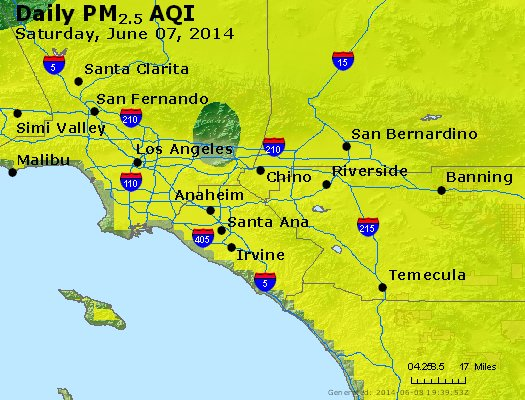 Peak Particles PM<sub>2.5</sub> (24-hour) - http://files.airnowtech.org/airnow/2014/20140607/peak_pm25_losangeles_ca.jpg
