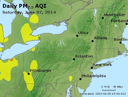 Peak Particles PM<sub>2.5</sub> (24-hour) - http://files.airnowtech.org/airnow/2014/20140607/peak_pm25_ny_pa_nj.jpg