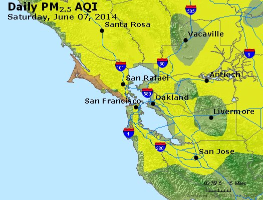 Peak Particles PM<sub>2.5</sub> (24-hour) - http://files.airnowtech.org/airnow/2014/20140607/peak_pm25_sanfrancisco_ca.jpg